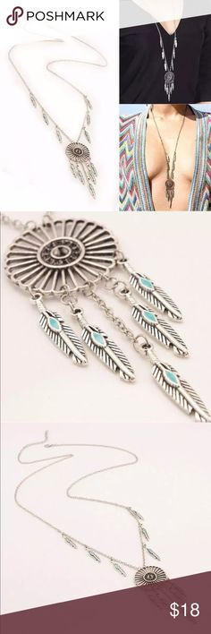 Silver Tribal Feather Pendant Necklace Silver Tribal Feather Pendant Necklace Jewelry Necklaces