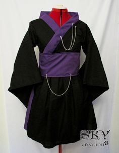 Chain and Charms Kimono Dress in Black and Purple by skycreation