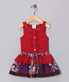 Red Patchwork Button-Up Dress - Toddler & Girls