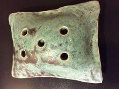Vintage Ceramic Turquoise Incense Holder Signed by Artist Johanne
