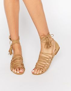 Image 1 of New Look Strappy Detail Tie Up Flat Sandals