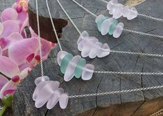Pink Sea Glass Necklace Sterling Silver 18K Gold Rose Gold