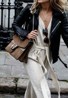 sac chloé + combinaison en cachemire + veste en cuir