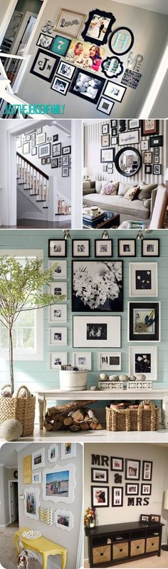 Great ideas for picture hanging arrangements! - Craft ~ Your ~ Home - Diy Interior Design Photowall Ideas, Home And Deco, My Living Room, Decorating A Large Wall In Living Room, Home Interior, Interior Design, My Dream Home, Home Projects, Sweet Home
