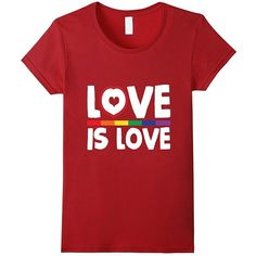 Shirt for you-Love Is Love Rainbow t-shirt Gay Lesbian Pride T-Shirts... ❤ liked on Polyvore featuring tops, t-shirts, red top, rainbow t shirt, red shirt, cotton t shirts and cotton shirts
