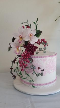 Orchid Stencil Cake - Cake by Angelic Cakes By Sarah
