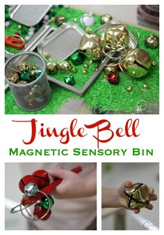 This jingle bell magnetic sensory bin is a fun way to explore science with preschoolers. What is magnetic? What is not?