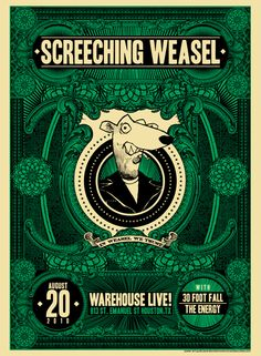 Screeching Weasel concert poster by Riccardo Bucchioni