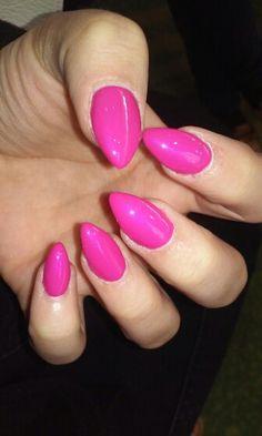 Pink steleto nails