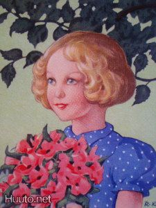 Girl And Bouquet Rudulf Koivu Vintage Book Art, Children's Book Illustration, Book Illustrations, Tove Jansson, Spring Birds, Old Postcards, Childrens Books, Disney Characters, Fictional Characters