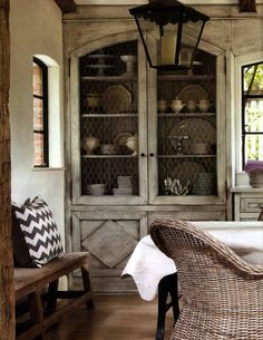 Farmhouse Living (chicken wire cabinet)