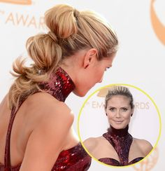 Heidi Klum knew just what to DO to achieve an award-worthy ponytail at the 2013 Emmy Awards. We just love her avant-garde sectioned ponytail.