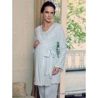 Artış 607 Hamile Sabahlık Pijama Takım; Sabahlık ve pijamadan oluşan takım artış iç giyim tarafından üretilmektedir. Beğendiğiniz lohusa takımlarını i
