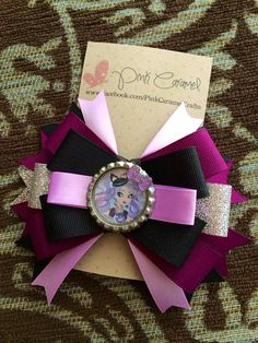 Ever After High, Kitty Cheshire Bottle Cap Hair Bow on Etsy, $7.00