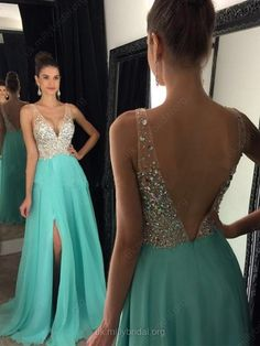 Pink A-line V-neck Chiffon Split Front with Beading Prom Dress #UKM020104583