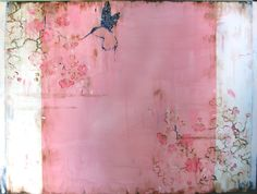"""Kissed"" - Kathe Fraga creates her paintings with acrylic, ink, graphite, and plaster on canvas."
