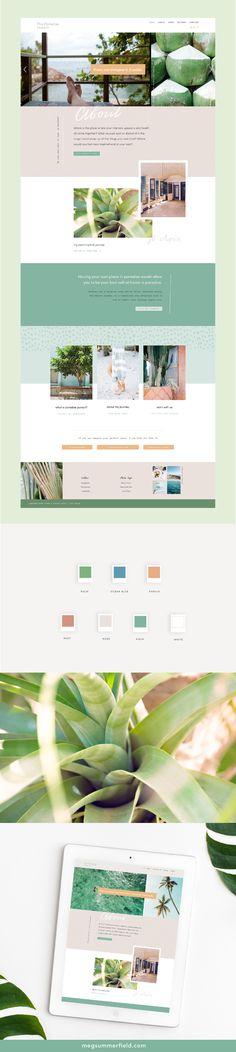 Mini Site: The Paradise Pursuit Bright and Tropical Squarespace Site Design Layout Design, Layout Web, Website Design Layout, Website Designs, Ux Design, Blog Layout, Email Design, Blog Design, Design Ideas