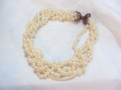 Wide Twisted Faux Pearl Vintage Necklace with Unique Clasp via Etsy