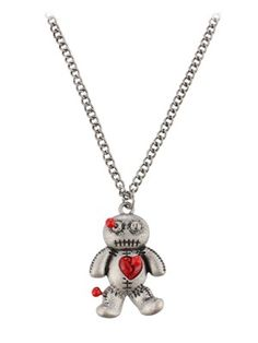 Fad Treasures Large Voodoo Doll Pendant On Burnished Silver Chain