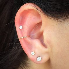 Conch and helix peicings, simple yet cute