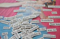 Collage Words  Hand cut from Vintage Book make your own poetry magnets! Doing this