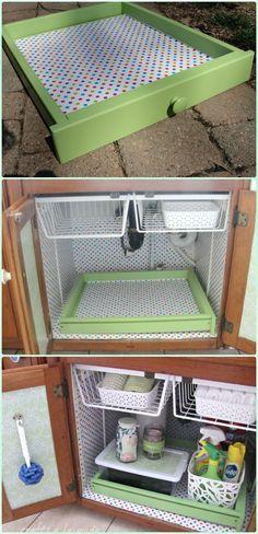 DIY Under Sink Cleaning Supply Organization Instruction - DIY Space Saving Hacks to Organize Your Kitchen #Diyhomesupplies