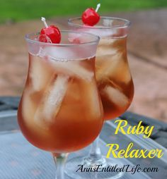 Ruby Relaxer Cocktail Recipe Beverages with coconut rum, vodka, peach schnapps, pineapple juice, cranberry juice, peaches, cocktail cherries, ice