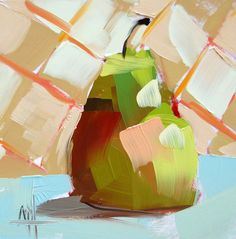 Pear no. 38 original still life oil painting by Angela Moutlon prattcreekart