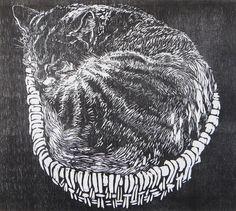 Farm Cat - woodblock print - Lisa Toth, U.S.A.