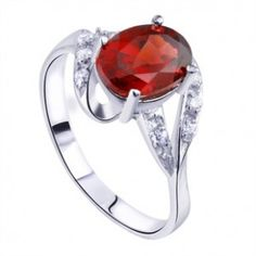 1 Carat Garnet solitaire antique Engagement Ring for women