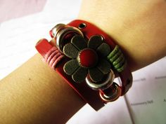 3 Circles Copper Flower With Metal Snapper women by braceletcool, $7.00