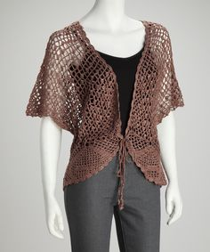 Light Brown Crochet Sparkle Cardigan | Daily deals for moms, babies and kids
