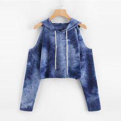 314a4fbd9403 Tie Dye Open Shoulder Crop Hooded Tee 2018 Long Sleeve Cut Out Drawstring  Casual Women Top Spring Blue T Shirt