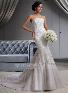 Trumpet/Mermaid Strapless Chapel Train Tulle Lace Wedding Dress With Beading (002022658)