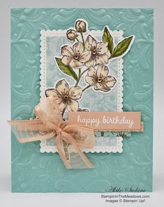 Stampin' in the Meadows – Akiko Sudano Independent Stampin' Up! Birthday Sentiments, Birthday Cards, Paris Cards, Wink Of Stella, Pink Cards, Flower Center, Stamping Up, Flower Cards, Stampin Up Cards