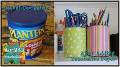 Re-purposed Peanut Can for scissors  and colored pencils from The Artful Child