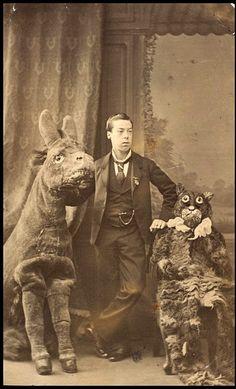 Charles Lari Jr around 1875, with creepy animal costumes
