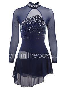 Vestido de patinaje artístico Mujer Chica Patinaje Sobre Hielo Vestidos Azul Oscuro Aquamarina Licra Pedrería Lentejuela Alta elasticidad 2018 - $1729.29