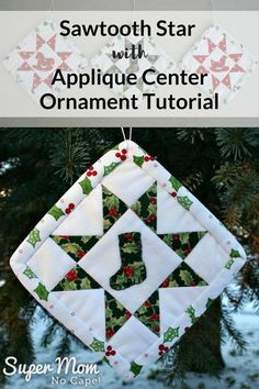 Quilted ornaments are unique and special gifts to make for everyone on your gift making list and for your own tree. This Sawtooth Star Ornament with Applique Center Tutorial has complete step-by-step instructions with lots of details photos. Ornament Tutorial, Fabric Headbands, Leftover Fabric, Love Sewing, Sewing Projects For Beginners, Sewing Patterns Free, Quilting Patterns, Quilting Tips, Quilting Tutorials