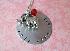 Handstamped Alabama Crimson Tide Roll Tide Roll Necklace with 3D Elephant Charm