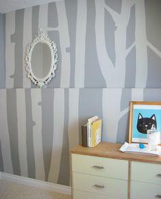 Malerschablone Für Wandgestaltung   Graue Wandfarbe   62 Kreative Wände  Streichen Ideen U2013 Interessante Techniken