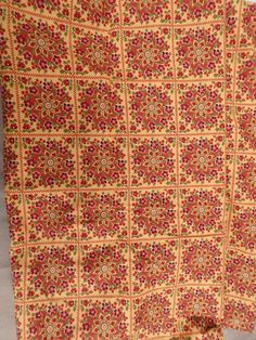 Springs Industries Tile Patch Square floral medallion Cotton fabric 2.8yds #6722…