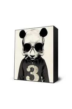 Eyes On Walls Panda No.3 Mini Art Block Framed Print by Hidden Moves