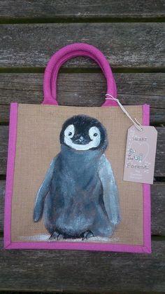Hand painted animal portraits on jute bags £20.00