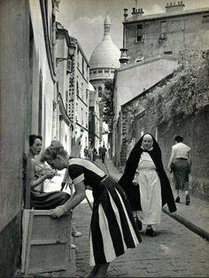 Rue St-Rustique Paris 18e in the 1950s photograph by Jacques Boulas.