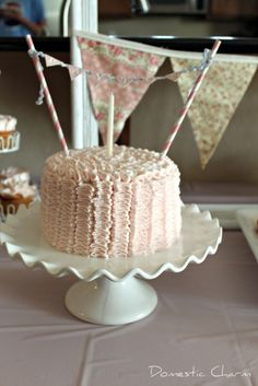 DIY:  Mini Bunting Banner for a Cake Tutorial.  How to Make a Mini Pennant Banner for a Cake.