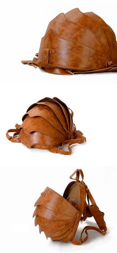 Leather Backpack or Crossbody BagSmall Brown Beetle by KiliDesign