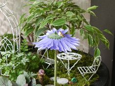 Flower Umbrella for Fairy Garden with bird by TheLittleHedgerow, $6.95