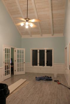 "Beach House Pergo ""Driftwood"" Behr ""Aqua Pura"" by stranded on purpose, via Flickr"