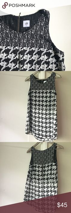 """Cabi Broken Check Top Size is """"sm"""". (Generous for a small; more like a solid medium). Sleeveless. Three black/white pattern blocks down top. Scoop neck. Fully lined (solid black lining). Lining and outer are both 100% Polyester. Exposed back zip - about 11.5"""" long. Length is about 27.5"""" from top of shoulder to hem. Worn twice. CAbi Tops"""